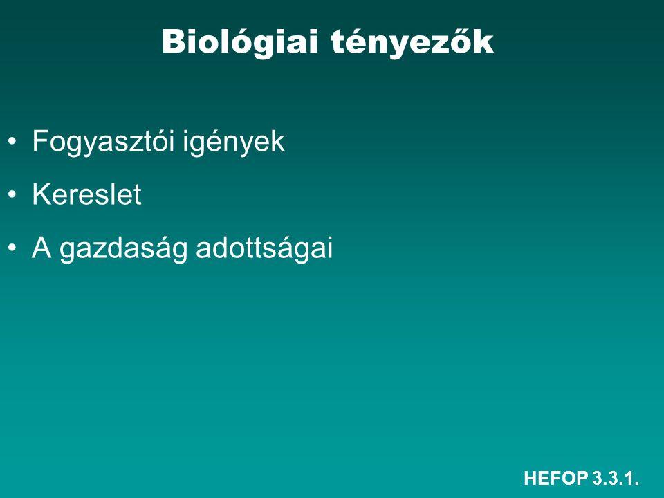 HEFOP 3.3.1. Fogyasztói igények Kereslet A gazdaság adottságai Biológiai tényezők