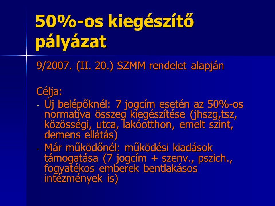 50%-os kiegészítő pályázat 9/2007. (II.