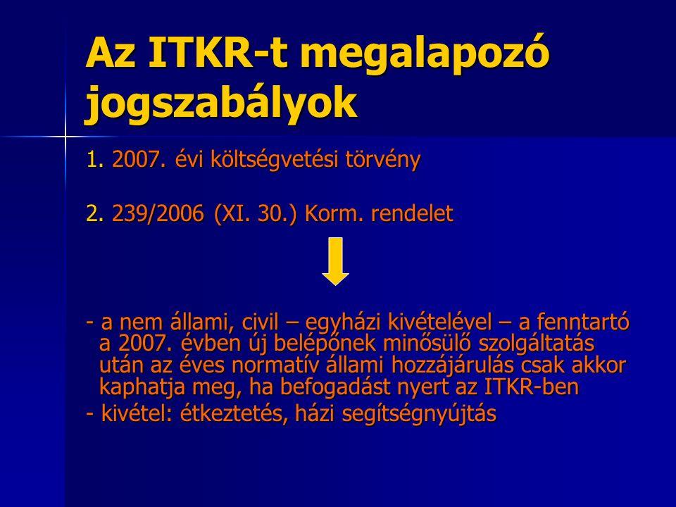 Az ITKR-t megalapozó jogszabályok 1. 2007. évi költségvetési törvény 2.