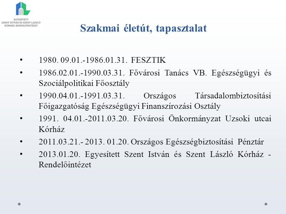Szakmai életút, tapasztalat 1980. 09.01.-1986.01.31.
