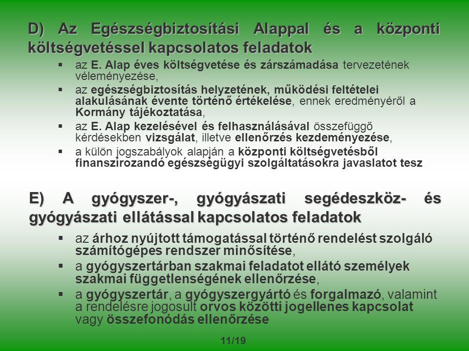 11/19 D) Az Egészségbiztosítási Alappal és a központi költségvetéssel kapcsolatos feladatok   az E.