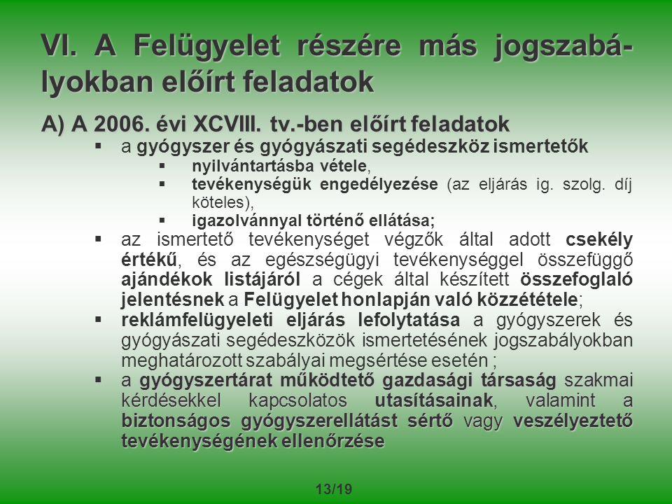 13/19 VI.A Felügyelet részére más jogszabá- lyokban előírt feladatok A) A 2006.