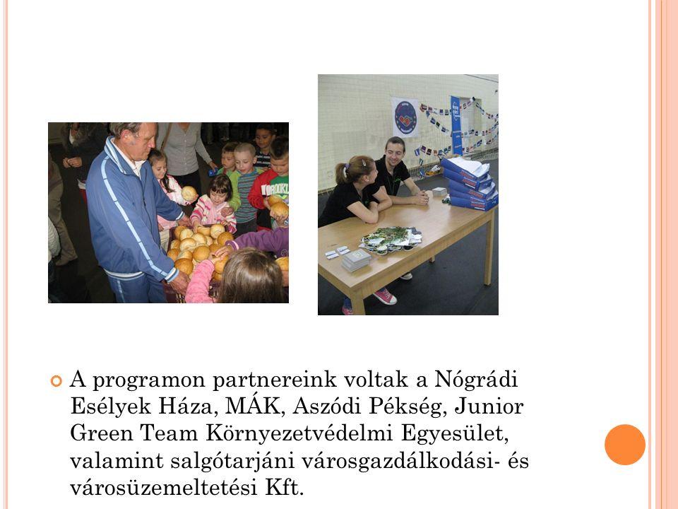 A programon partnereink voltak a Nógrádi Esélyek Háza, MÁK, Aszódi Pékség, Junior Green Team Környezetvédelmi Egyesület, valamint salgótarjáni városga