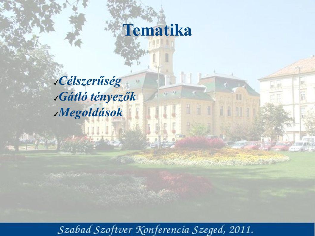 Tematika ✔ Célszerűség ✔ Gátló tényezők ✔ Megoldások