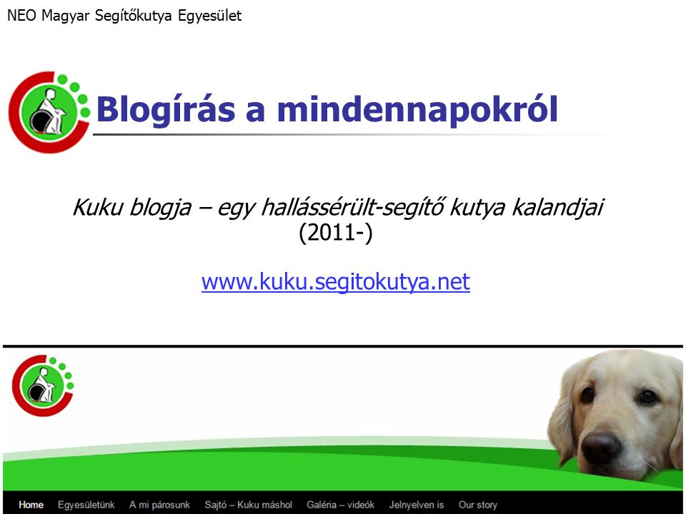 Blogírás a mindennapokról Kuku blogja – egy hallássérült-segítő kutya kalandjai (2011-) www.kuku.segitokutya.net NEO Magyar Segítőkutya Egyesület