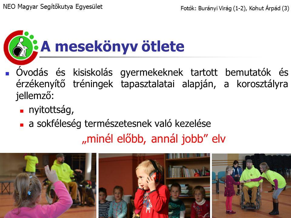 """A mesekönyv ötlete Óvodás és kisiskolás gyermekeknek tartott bemutatók és érzékenyítő tréningek tapasztalatai alapján, a korosztályra jellemző: nyitottság, a sokféleség természetesnek való kezelése """"minél előbb, annál jobb elv Fotók: Burányi Virág (1-2), Kohut Árpád (3) NEO Magyar Segítőkutya Egyesület"""