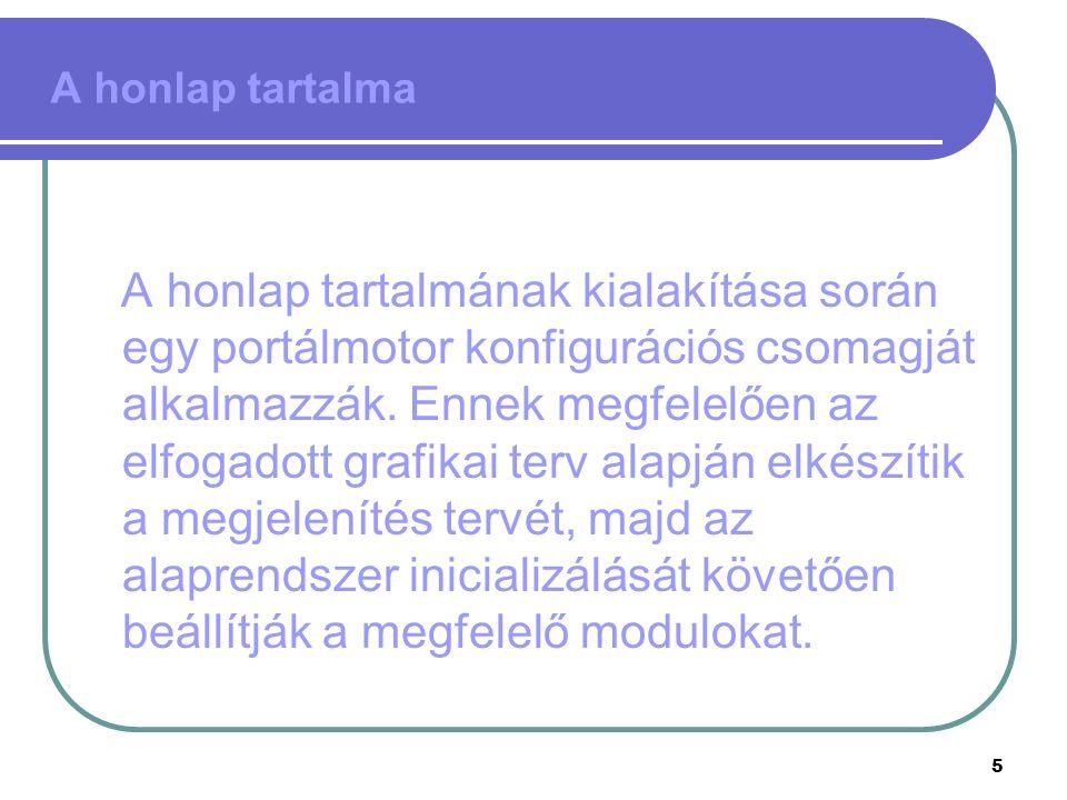 5 A honlap tartalma A honlap tartalmának kialakítása során egy portálmotor konfigurációs csomagját alkalmazzák.