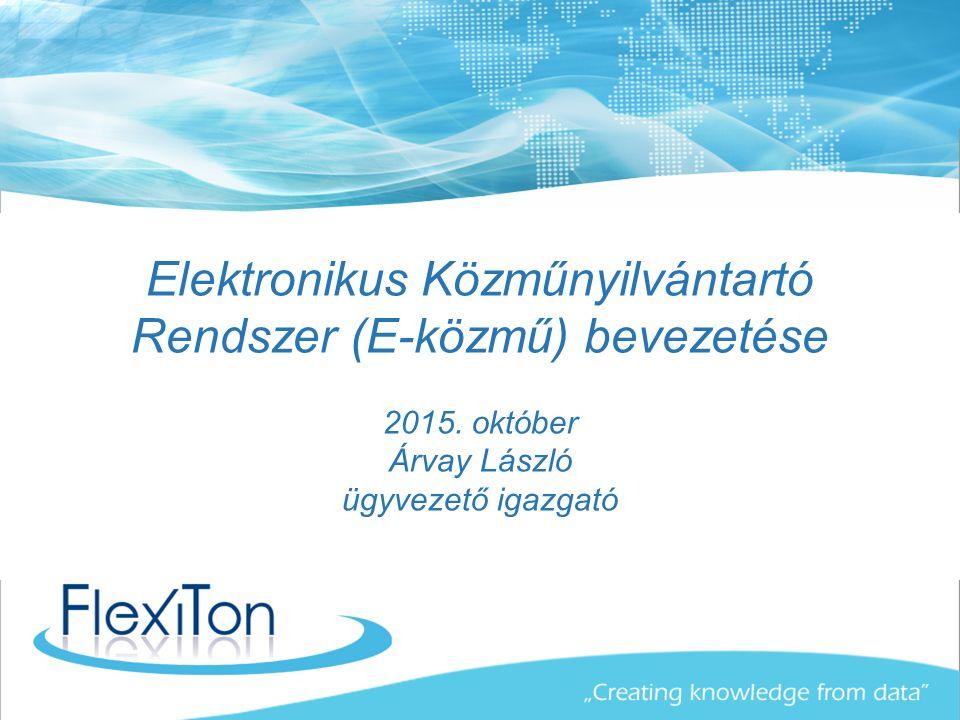 Elektronikus Közműnyilvántartó Rendszer (E-közmű) bevezetése 2015.