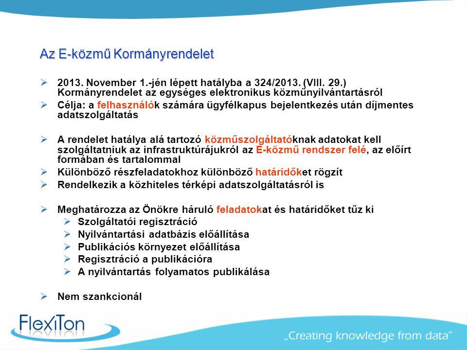 A 324/2013 Kormányrendelet – Az E-közmű szereplői  A Lechner Lajos Tudásközpont Nonprofit Kft.