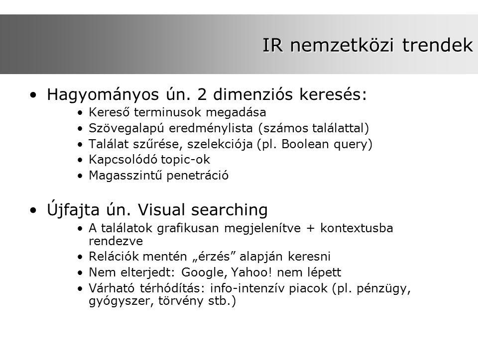 IR nemzetközi trendek Hagyományos ún. 2 dimenziós keresés: Kereső terminusok megadása Szövegalapú eredménylista (számos találattal) Találat szűrése, s