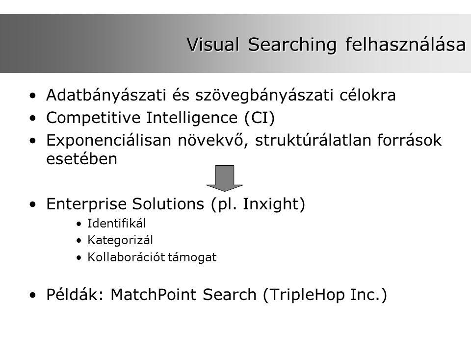 Visual Searching felhasználása Adatbányászati és szövegbányászati célokra Competitive Intelligence (CI) Exponenciálisan növekvő, struktúrálatlan források esetében Enterprise Solutions (pl.