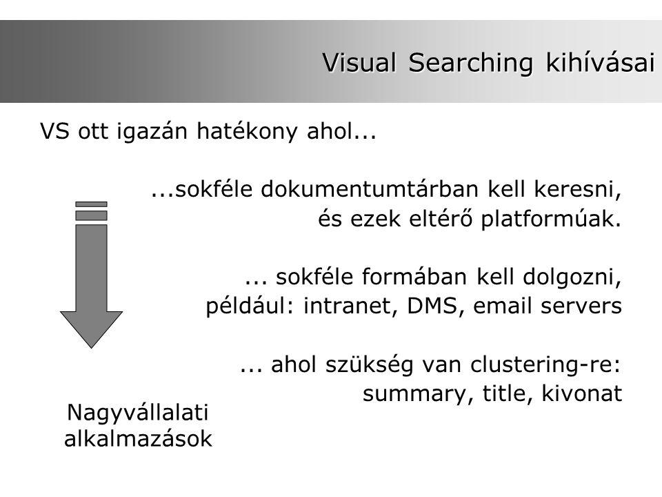Visual Searching kihívásai VS ott igazán hatékony ahol......sokféle dokumentumtárban kell keresni, és ezek eltérő platformúak.... sokféle formában kel