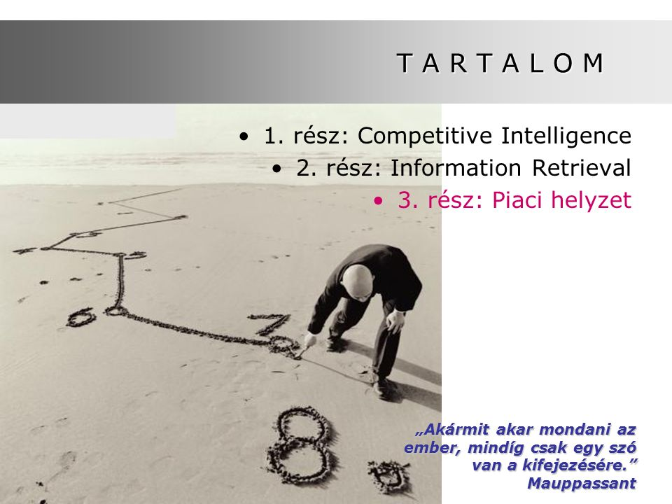 T A R T A L O M 1. rész: Competitive Intelligence 2.