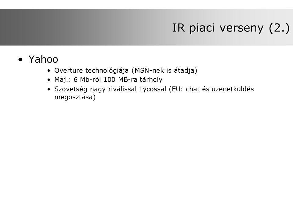 IR piaci verseny (2.) Yahoo Overture technológiája (MSN-nek is átadja) Máj.: 6 Mb-ról 100 MB-ra tárhely Szövetség nagy riválissal Lycossal (EU: chat és üzenetküldés megosztása)