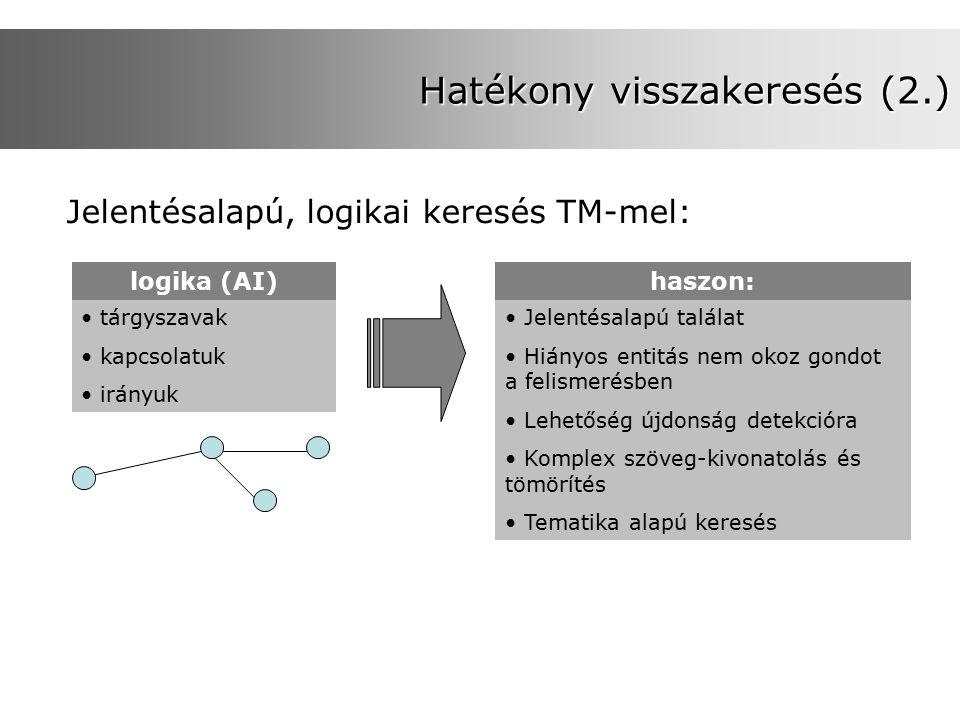 Hatékony visszakeresés (2.) Jelentésalapú, logikai keresés TM-mel: logika (AI) tárgyszavak kapcsolatuk irányuk haszon: Jelentésalapú találat Hiányos entitás nem okoz gondot a felismerésben Lehetőség újdonság detekcióra Komplex szöveg-kivonatolás és tömörítés Tematika alapú keresés