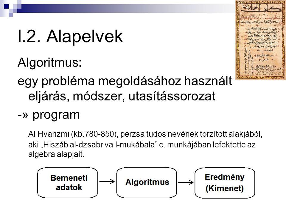 I.2. Alapelvek Algoritmus: egy probléma megoldásához használt eljárás, módszer, utasítássorozat -» program Al Hvarizmi (kb.780-850), perzsa tudós nevé