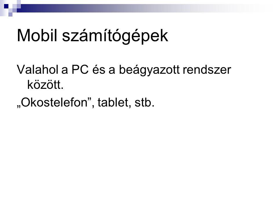 """Mobil számítógépek Valahol a PC és a beágyazott rendszer között. """"Okostelefon , tablet, stb."""