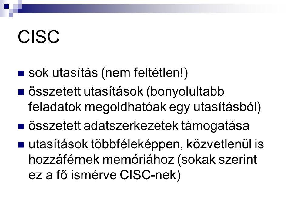 CISC sok utasítás (nem feltétlen!) összetett utasítások (bonyolultabb feladatok megoldhatóak egy utasításból) összetett adatszerkezetek támogatása utasítások többféleképpen, közvetlenül is hozzáférnek memóriához (sokak szerint ez a fő ismérve CISC-nek)