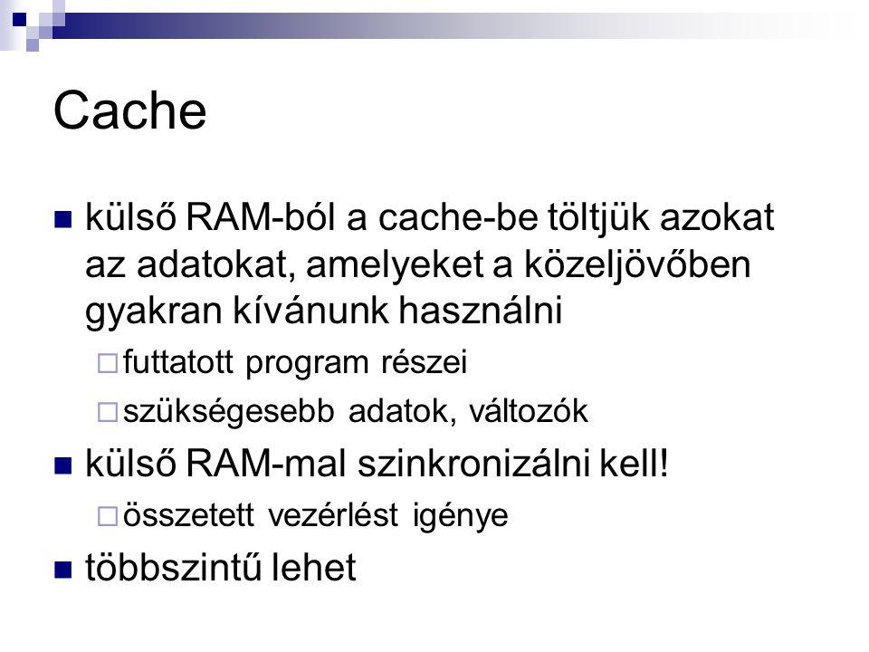 Cache külső RAM-ból a cache-be töltjük azokat az adatokat, amelyeket a közeljövőben gyakran kívánunk használni  futtatott program részei  szükségesebb adatok, változók külső RAM-mal szinkronizálni kell.