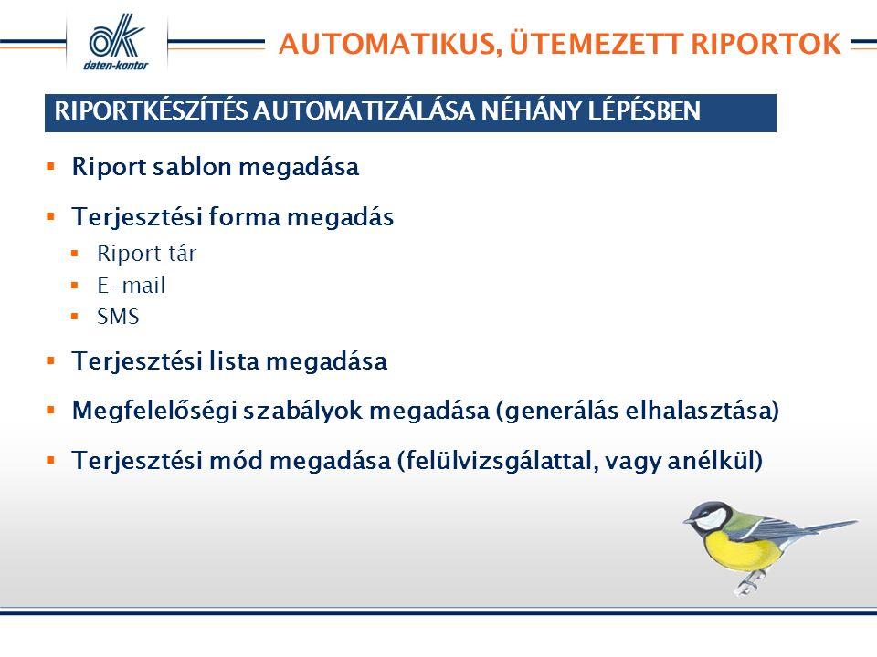 RIPORTKÉSZÍTÉS AUTOMATIZÁLÁSA NÉHÁNY LÉPÉSBEN  Riport sablon megadása  Terjesztési forma megadás  Riport tár  E-mail  SMS  Terjesztési lista megadása  Megfelelőségi szabályok megadása (generálás elhalasztása)  Terjesztési mód megadása (felülvizsgálattal, vagy anélkül) AUTOMATIKUS, ÜTEMEZETT RIPORTOK RIPORTKÉSZÍTÉS AUTOMATIZÁLÁSA NÉHÁNY LÉPÉSBEN