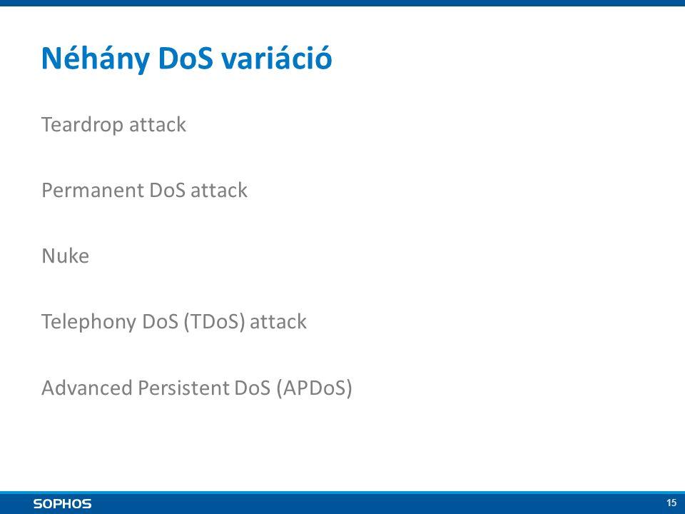15 Néhány DoS variáció Teardrop attack Permanent DoS attack Nuke Telephony DoS (TDoS) attack Advanced Persistent DoS (APDoS)