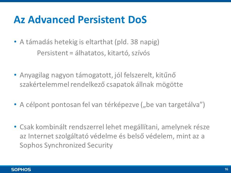 16 Az Advanced Persistent DoS A támadás hetekig is eltarthat (pld.