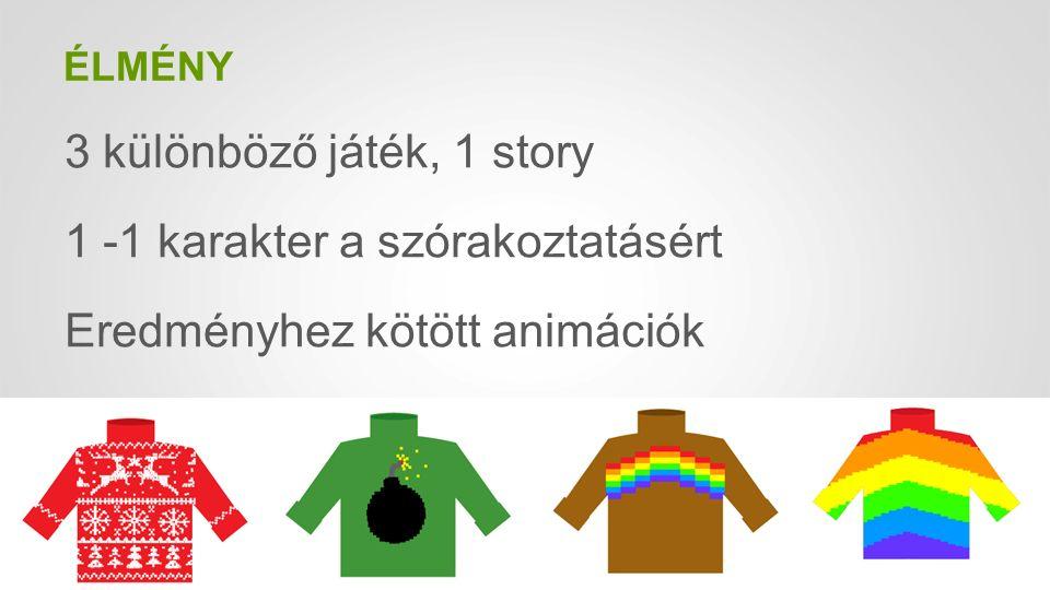 ÉLMÉNY 3 különböző játék, 1 story 1 -1 karakter a szórakoztatásért Eredményhez kötött animációk