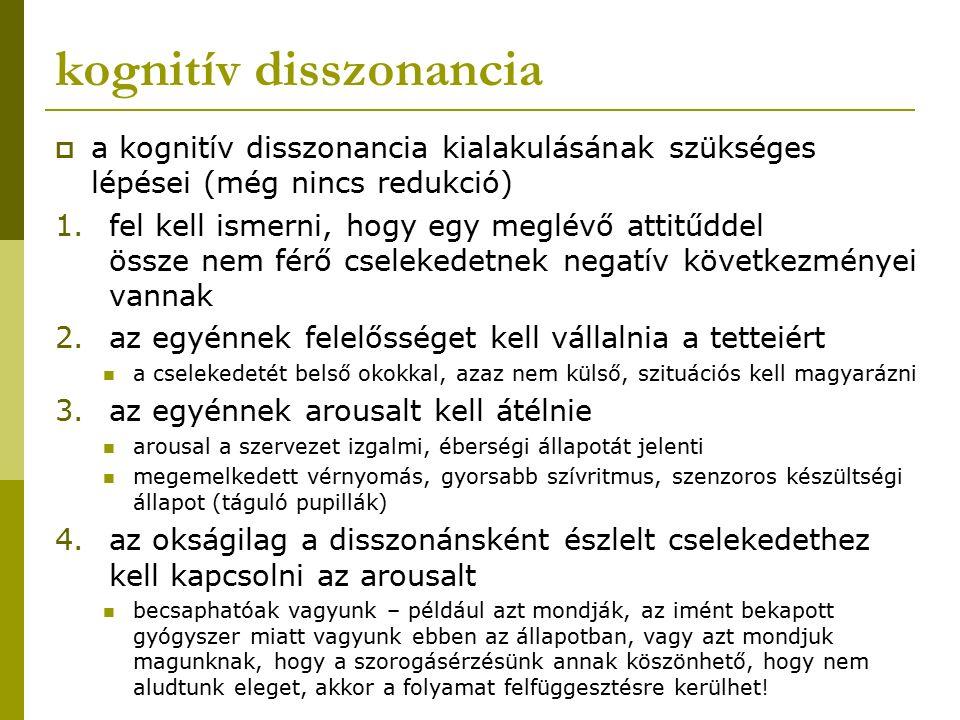 kognitív disszonancia  a kognitív disszonancia kialakulásának szükséges lépései (még nincs redukció) 1.fel kell ismerni, hogy egy meglévő attitűddel