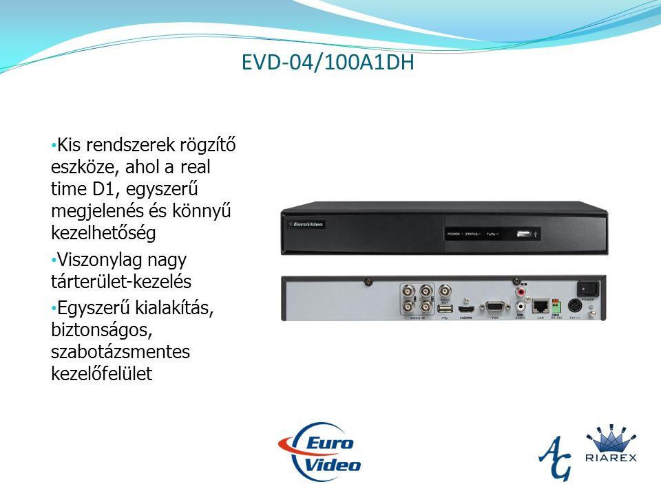 EVD-04/100A1DH Kis rendszerek rögzítő eszköze, ahol a real time D1, egyszerű megjelenés és könnyű kezelhetőség Viszonylag nagy tárterület-kezelés Egyszerű kialakítás, biztonságos, szabotázsmentes kezelőfelület