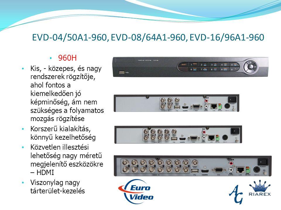 EVD-04/50A1-960, EVD-08/64A1-960, EVD-16/96A1-960 960H Kis, - közepes, és nagy rendszerek rögzítője, ahol fontos a kiemelkedően jó képminőség, ám nem szükséges a folyamatos mozgás rögzítése Korszerű kialakítás, könnyű kezelhetőség Közvetlen illesztési lehetőség nagy méretű megjelenítő eszközökre – HDMI Viszonylag nagy tárterület-kezelés
