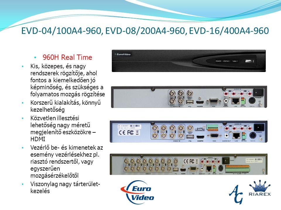 EVD-04/100A4-960, EVD-08/200A4-960, EVD-16/400A4-960 960H Real Time Kis, közepes, és nagy rendszerek rögzítője, ahol fontos a kiemelkedően jó képminőség, és szükséges a folyamatos mozgás rögzítése Korszerű kialakítás, könnyű kezelhetőség Közvetlen illesztési lehetőség nagy méretű megjelenítő eszközökre – HDMI Vezérlő be- és kimenetek az esemény vezérlésekhez pl.