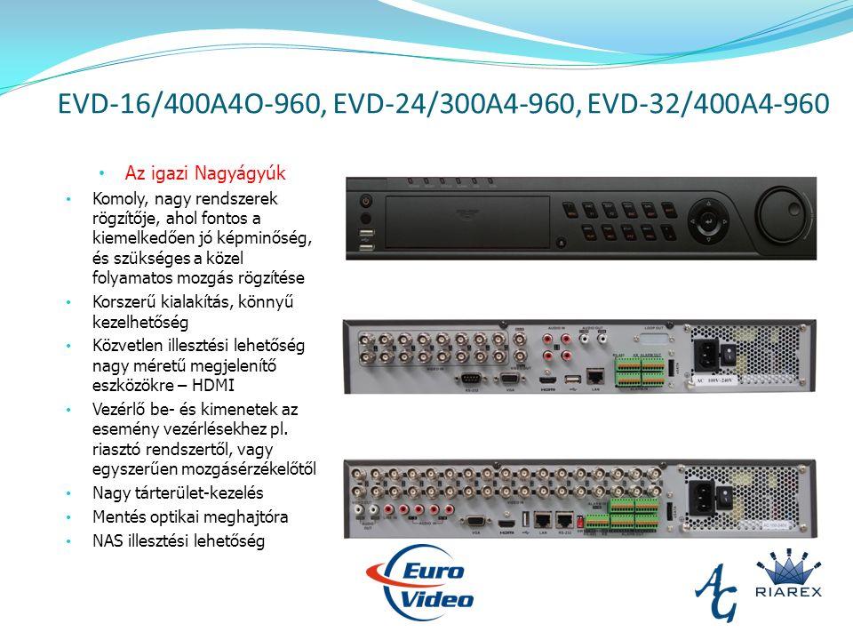 EVD-16/400A4O-960, EVD-24/300A4-960, EVD-32/400A4-960 Az igazi Nagyágyúk Komoly, nagy rendszerek rögzítője, ahol fontos a kiemelkedően jó képminőség, és szükséges a közel folyamatos mozgás rögzítése Korszerű kialakítás, könnyű kezelhetőség Közvetlen illesztési lehetőség nagy méretű megjelenítő eszközökre – HDMI Vezérlő be- és kimenetek az esemény vezérlésekhez pl.
