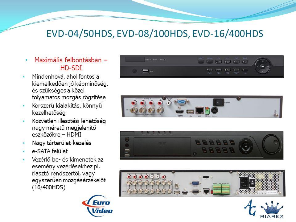 EVD-04/50HDS, EVD-08/100HDS, EVD-16/400HDS Maximális felbontásban – HD-SDI Mindenhová, ahol fontos a kiemelkedően jó képminőség, és szükséges a közel folyamatos mozgás rögzítése Korszerű kialakítás, könnyű kezelhetőség Közvetlen illesztési lehetőség nagy méretű megjelenítő eszközökre – HDMI Nagy tárterület-kezelés e-SATA felület Vezérlő be- és kimenetek az esemény vezérlésekhez pl.