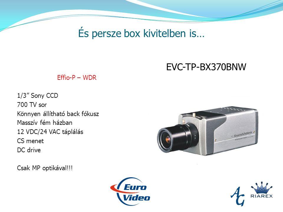 És persze box kivitelben is… Effio-P – WDR 1/3 Sony CCD 700 TV sor Könnyen állítható back fókusz Masszív fém házban 12 VDC/24 VAC táplálás CS menet DC drive Csak MP optikával!!.
