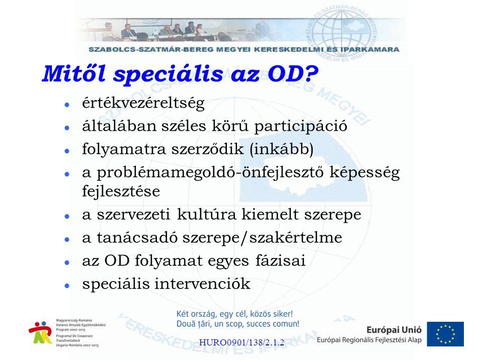 Mitől speciális az OD? értékvezéreltség általában széles körű participáció folyamatra szerződik (inkább) a problémamegoldó-önfejlesztő képesség fejles