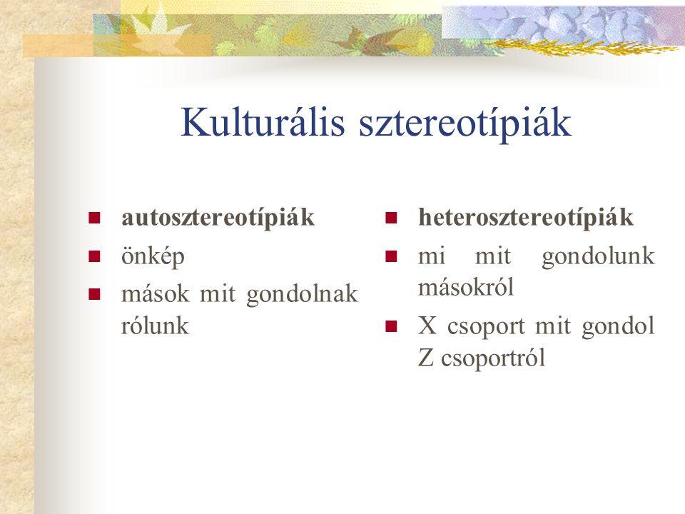 Kulturális sztereotípiák autosztereotípiák önkép mások mit gondolnak rólunk heterosztereotípiák mi mit gondolunk másokról X csoport mit gondol Z csoportról