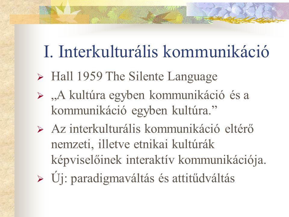 """I. Interkulturális kommunikáció  Hall 1959 The Silente Language  """"A kultúra egyben kommunikáció és a kommunikáció egyben kultúra.""""  Az interkulturá"""
