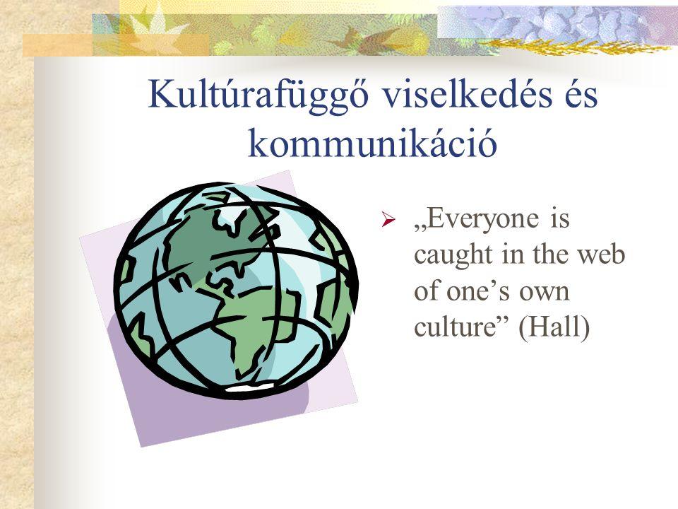 """Kultúrafüggő viselkedés és kommunikáció  """"Everyone is caught in the web of one's own culture (Hall)"""