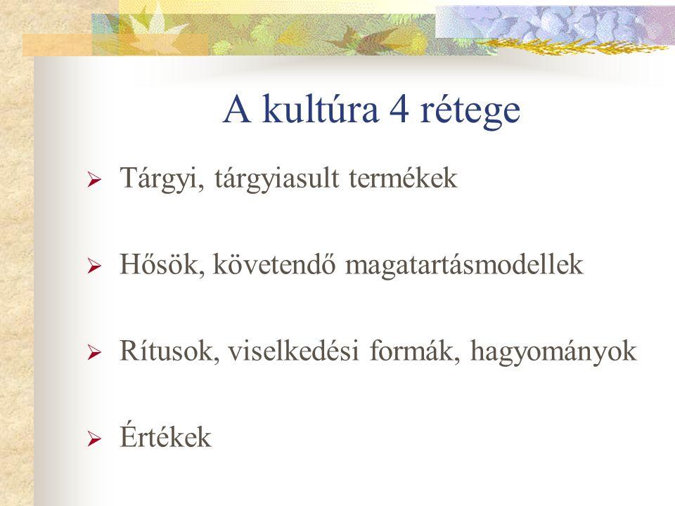 A kultúra 4 rétege  Tárgyi, tárgyiasult termékek  Hősök, követendő magatartásmodellek  Rítusok, viselkedési formák, hagyományok  Értékek