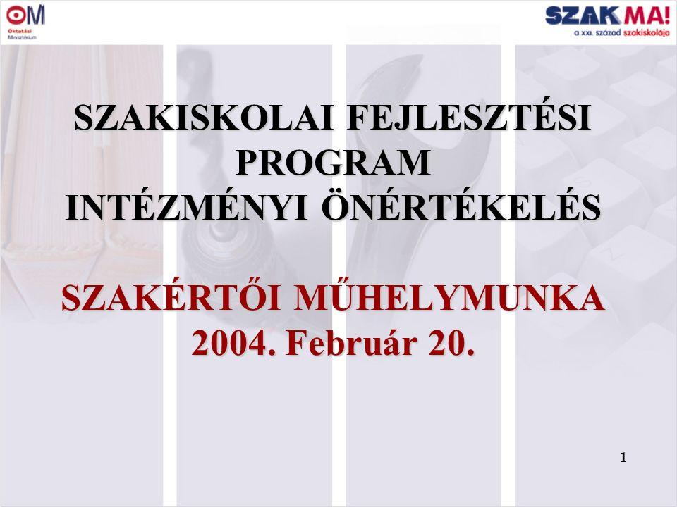 1 SZAKISKOLAI FEJLESZTÉSI PROGRAM INTÉZMÉNYI ÖNÉRTÉKELÉS SZAKÉRTŐI MŰHELYMUNKA 2004. Február 20. 1
