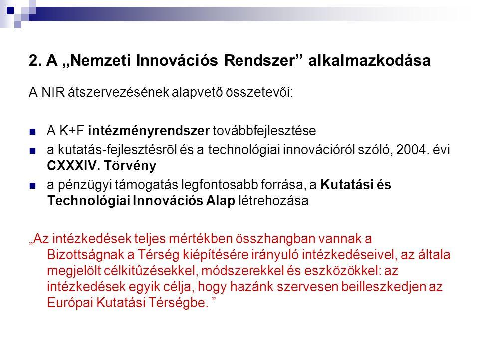 """2. A """"Nemzeti Innovációs Rendszer"""" alkalmazkodása A NIR átszervezésének alapvető összetevői: A K+F intézményrendszer továbbfejlesztése a kutatás-fejle"""