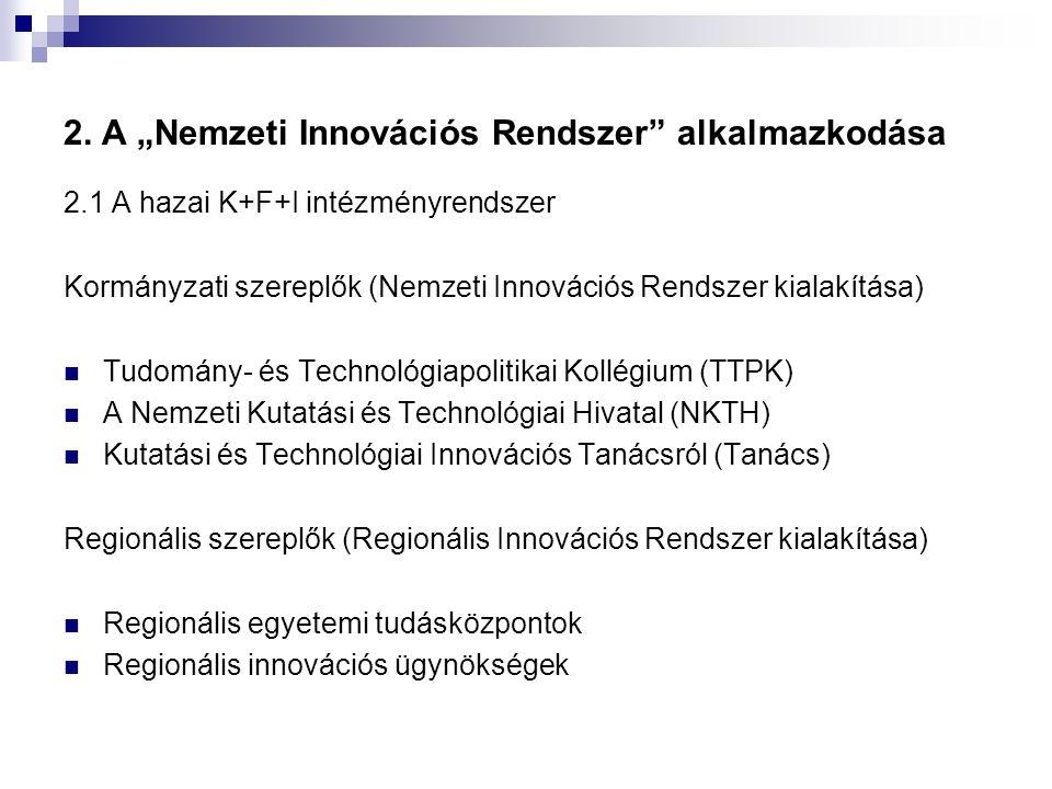 """2. A """"Nemzeti Innovációs Rendszer"""" alkalmazkodása 2.1 A hazai K+F+I intézményrendszer Kormányzati szereplők (Nemzeti Innovációs Rendszer kialakítása)"""