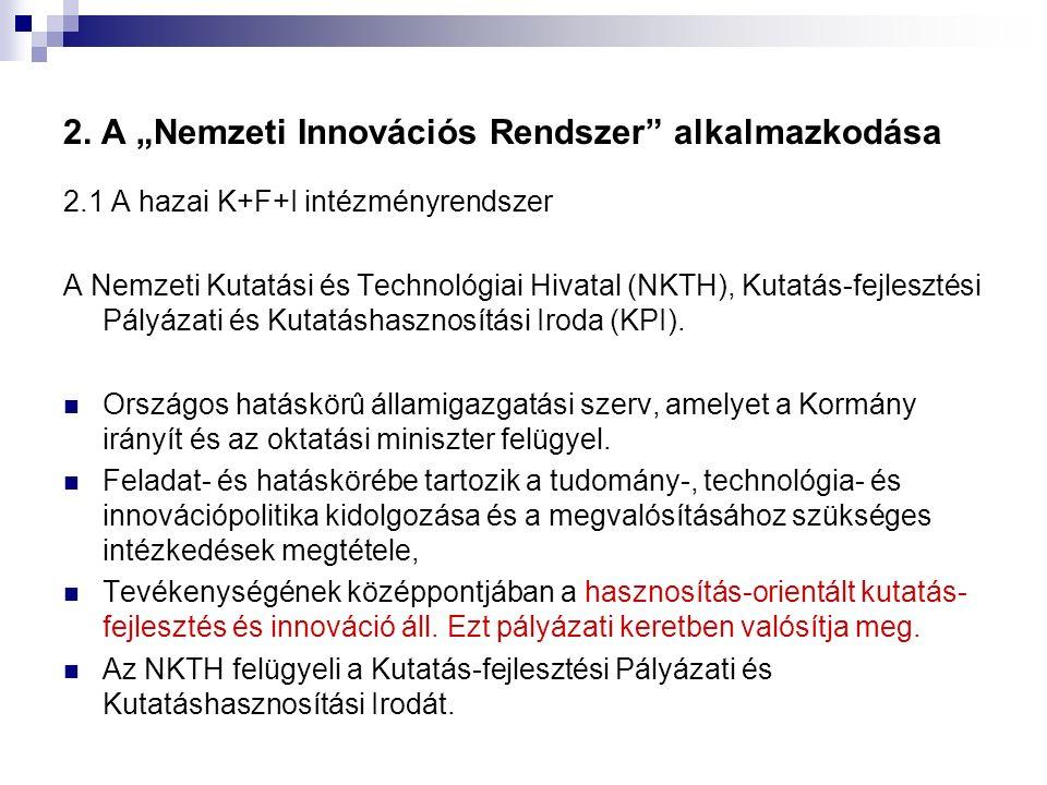 """2. A """"Nemzeti Innovációs Rendszer"""" alkalmazkodása 2.1 A hazai K+F+I intézményrendszer A Nemzeti Kutatási és Technológiai Hivatal (NKTH), Kutatás-fejle"""