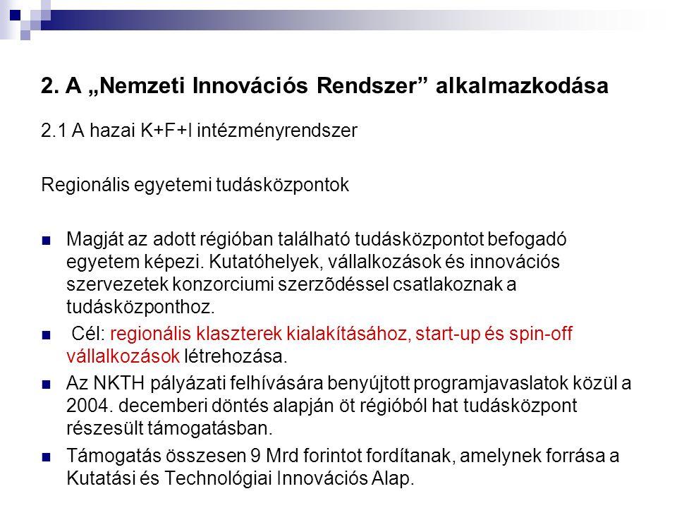 """2. A """"Nemzeti Innovációs Rendszer"""" alkalmazkodása 2.1 A hazai K+F+I intézményrendszer Regionális egyetemi tudásközpontok Magját az adott régióban talá"""