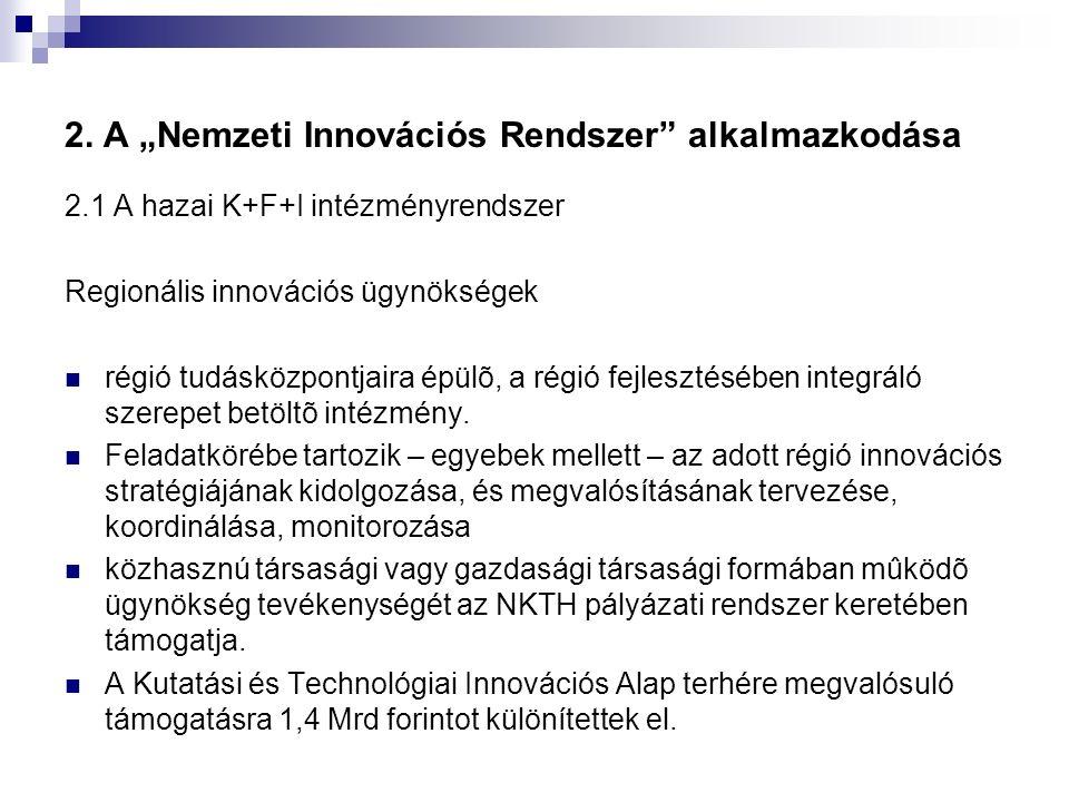 """2. A """"Nemzeti Innovációs Rendszer"""" alkalmazkodása 2.1 A hazai K+F+I intézményrendszer Regionális innovációs ügynökségek régió tudásközpontjaira épülõ,"""