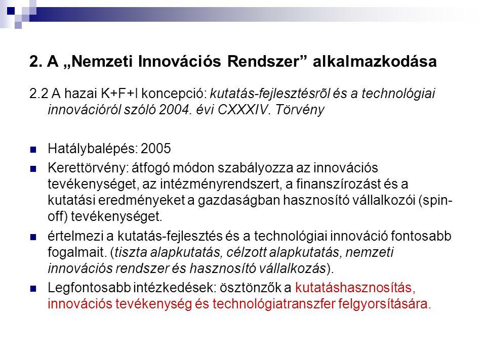 """2. A """"Nemzeti Innovációs Rendszer"""" alkalmazkodása 2.2 A hazai K+F+I koncepció: kutatás-fejlesztésrõl és a technológiai innovációról szóló 2004. évi CX"""