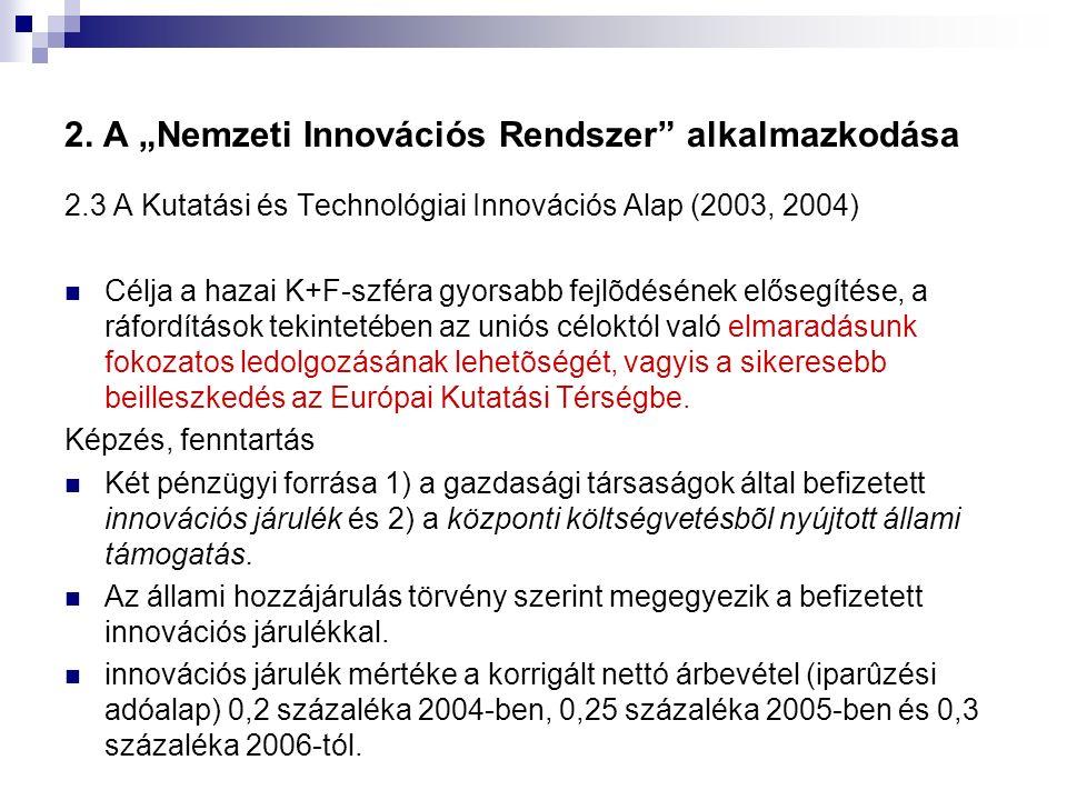 """2. A """"Nemzeti Innovációs Rendszer"""" alkalmazkodása 2.3 A Kutatási és Technológiai Innovációs Alap (2003, 2004) Célja a hazai K+F-szféra gyorsabb fejlõd"""