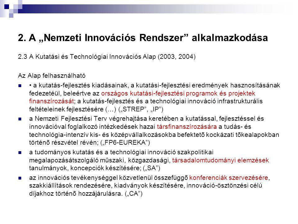 """2. A """"Nemzeti Innovációs Rendszer"""" alkalmazkodása 2.3 A Kutatási és Technológiai Innovációs Alap (2003, 2004) Az Alap felhasználható a kutatás-fejlesz"""