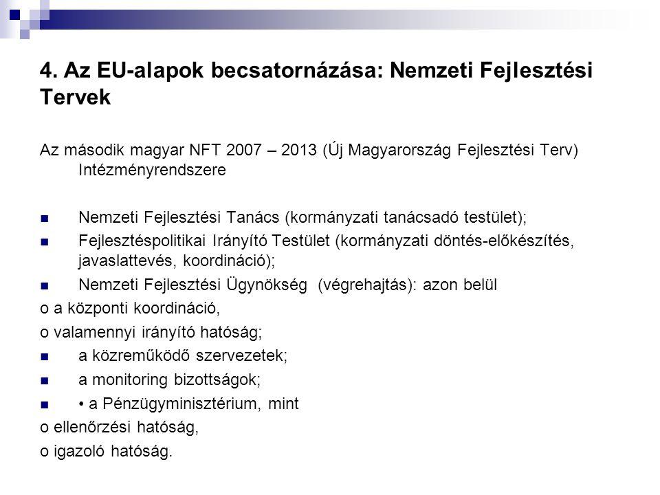 4. Az EU-alapok becsatornázása: Nemzeti Fejlesztési Tervek Az második magyar NFT 2007 – 2013 (Új Magyarország Fejlesztési Terv) Intézményrendszere Nem