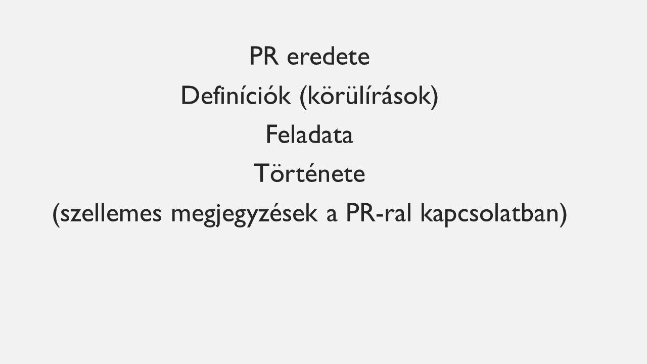 PR eredete Definíciók (körülírások) Feladata Története (szellemes megjegyzések a PR-ral kapcsolatban)